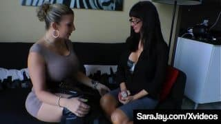 Boss Sara Jay Sexes Up Pussy Licking Office Aid Angie Noir!